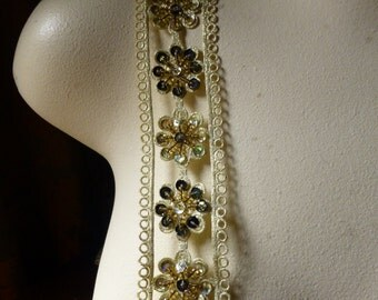 """GOLD Beaded Trim 18"""" in Gold Metallic & BLACK for Applique, Tribal Fusion, Costumes, Headbands, Crafts"""