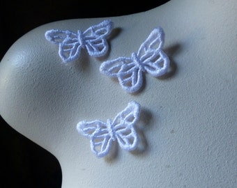 3 Butterfly Appliques Medium size in White Venise Lace American made for Bridal, Headbands, Gift Wrap, Crafts AM