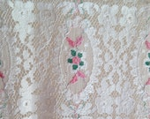 Embroidered Lace Doily/Table Runner in Ivory Tulle and Embroidered Floral Design
