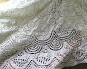 """Antique Eyelet Fabric Hand Embroidered White Cotton in Paisley/Geometric Motifs  4 Yards x 39"""" Wide"""