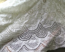"""Antique Eyelet Fabric Hand Embroidered Cotton in Paisley/Geometric Motifs  4 Yards x 39"""" Wide"""