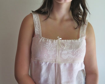 Linen/Cotton Nightgown/Tunic Upcycled Vintage Embroidered Linen and Cupid Lace Yoke Size S/M