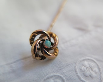 Antique Opal Glass Hat Pin/Stick Pin Rose Gold Plate Love Knot