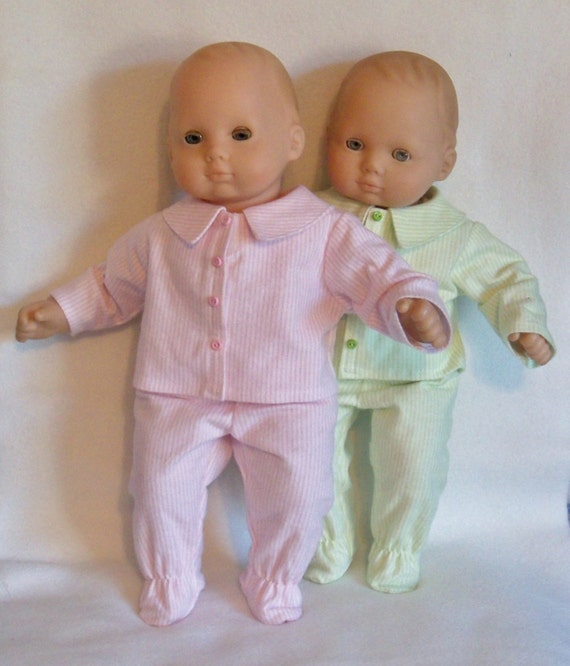15 inch Doll Green or Pink & White Striped Pajamas
