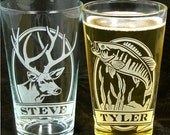 NEW!  2 Fishing Gifts for Men Personalized Etched Glass Beer Pint Glasses Birthday Presents for Guys, Dad, Husband