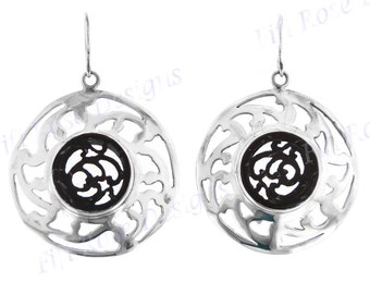"""1 3/4"""" Carved Coconut Shell Cakra 925 Sterling Silver Earrings"""