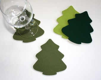 Hostess Gift Log Cabin Decor Coasters Rustic Lodge Ski House Decorations Party Tree Holiday Tabletop 5MM Merino Wool Felt