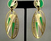 Edgar BEREBI Vintage Enamel Earrings,  Gold, Green n Cream Pink Dangle Posts, 1980s Art Deco Classic, Pretty and Lightweight