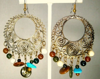 Trashy Gypsy Dangle Earrings, GOLD Beaded Hoop Dangles, 1990s Oxidized But Shiny Goldtone, Pierced Wires