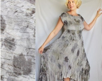 Silk viscose dress, Natural Dyeing on Silk, Eco leaf flower, Contact dyeing, Eco Natural Plant Dyed, Eco Friendly