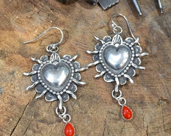 E123 The Santa Rosa Sacred Heart with Coral Drop sterling silver southwestern jewelry native style earrings made in Santa Fe