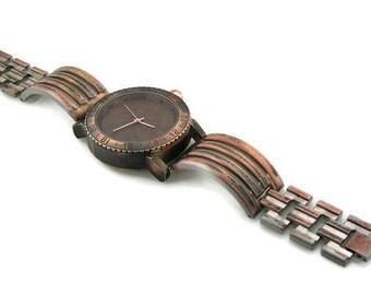 Men's Watch Antique red Dial Dial Wrist Watch hand made bracelet