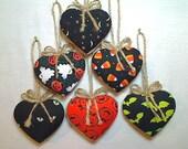 Halloween Heart Ornaments | Spooky Decor | Holidays | Folk Art | Party Favors | Fall Decor | Set/6 | #1
