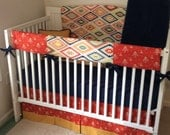 Santa Fe Gold Navy and Rust Bumperless Crib Bedding Set Made to Order