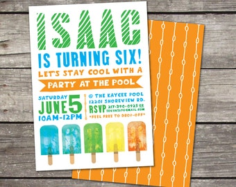 Pool Party Popsicle or Summer themed invitation with coordinating back