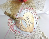 Valentine Love Heart XL Deluxe Art Gift Tag~champagne gold heart~red~cupid arrow~February 14th~pink~hang tags~gift bag SWAG~pretty packaging