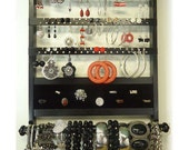 Jewelry Holder Deluxe, Gorgeous Ebony Solid Oak Hardwood,  Earring Holder, Bracelet Storage Necklace Organizer, Wall Mount, Black Stain