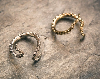 Tantalizing Tentacle Rings! Wrap Your Fingers in Awesome Adjustable Silver, Brass, or Gold Tentacle Rings! (see description for details)