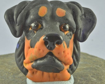 Rottweiler  Focal Bead Sculpture - Flameworked Glass Bead - Handmade Lampwork Glass Sculpture Bead