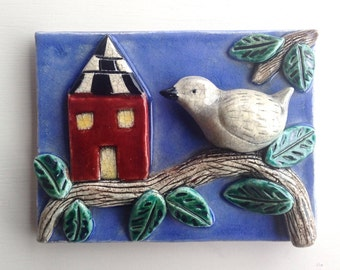 Ceramic Tile, Bird and House