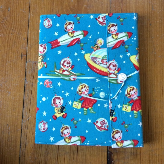 Sale  ***  Rocket Rascals Reusable Fabric Covered Composition Book Cover - with pen and composition book, faabric covered notebook, journal
