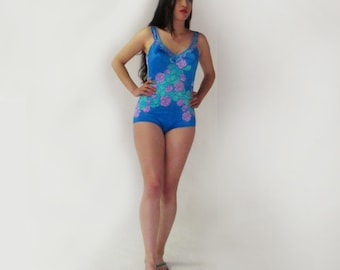 Vintage one piece blue swimsuit, bathingsuit with pink roses, pin-up girl swimwear, large, retro woman swimsuit, floral, Maxine of Hollywood