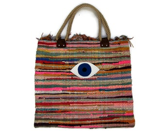 Evil Eye Boho Tote Bag. Large Colorful Kilim Bag. Boho Chic Style. Beach Boho Bag. Hippie Summer Bag. Book Bag. Shopping Bag. Womens Gift.