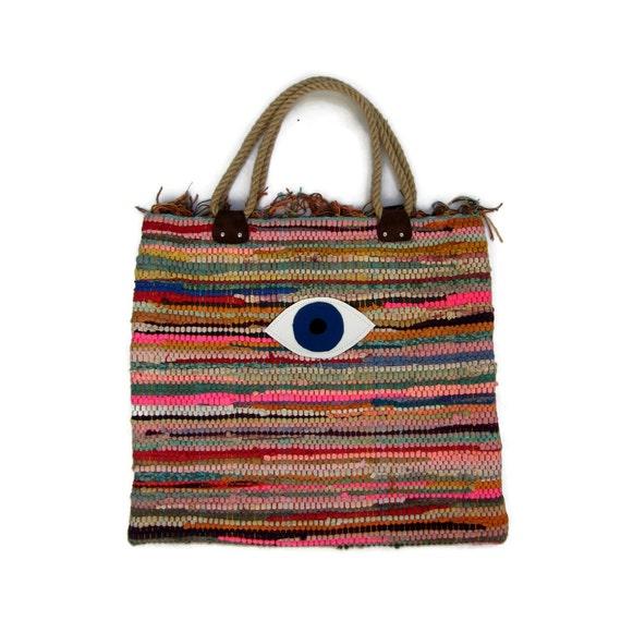 Evil Eye Boho Tote Bag. Large Colorful Kilim Bag. Boho Chic Style ...