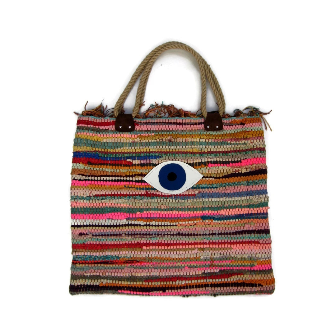 Evil Eye Boho Tote Bag. Large Colorful Kilim Bag. Boho Chic
