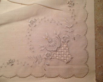NEW NEVER USED Handkerchief Set with Open Work Embroidery