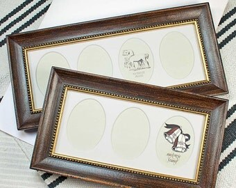 Rich dark red-brown Deluxe Frame with inner gold beading with 3 photos Oval Mat