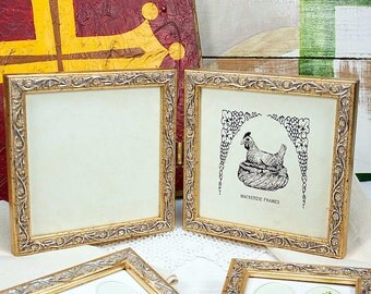 5x5 or 4x6 inch pale gold vine leaf motif hinged double frameoffice - Double Frames