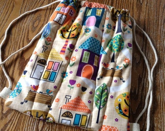 Quilted Drawstring Toddler Backpack, Girl Daycare Bag, Library Bag