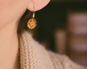 Plant Lover - William Morris Artichoke Drop Earrings - Victorian Round Earrings - Boho Gift - Gifts For Girlfriend - Teacher Gift