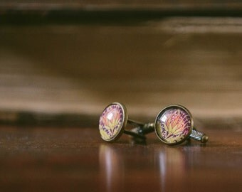 Artichoke Cufflinks - Gardener Gift - Vegetable Garden - Victorian Style - William Morris - Textiles - Cuff Links For Men - Gift For Him