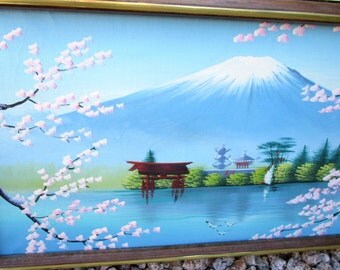 Japanese Original Painting Vintage Chinese Wall Hanging Framed Asian Landscape Volcano Lotus Trees Water