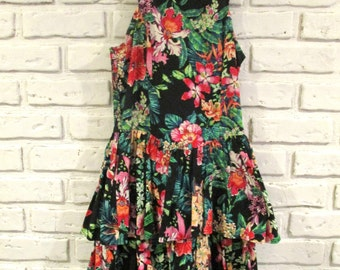Vintage Black Floral Print Sleeveless Tiered Ruffle Dress Small