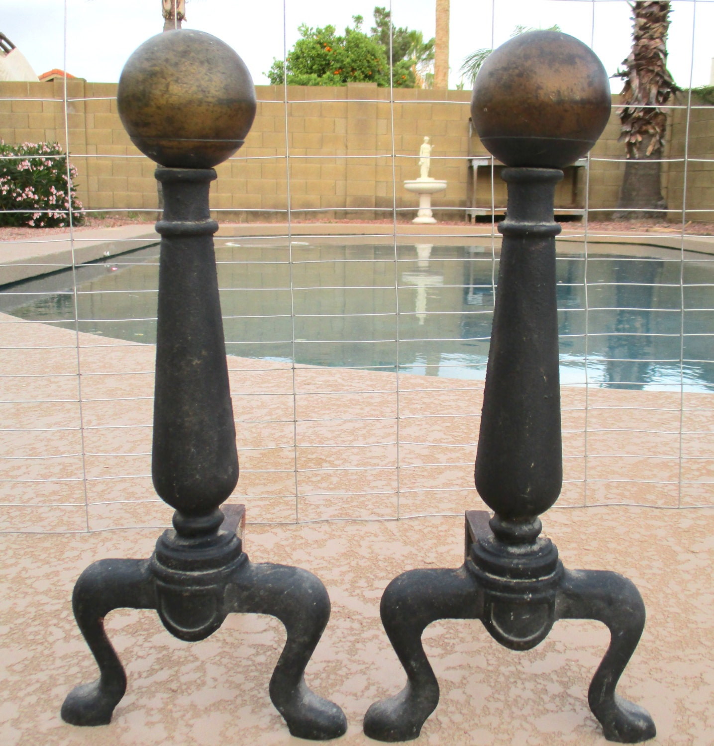 Vintage Cast Iron Cannonball Andirons Fireplace Decor Vintage