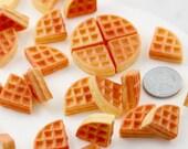 Miniature Waffles - 18mm Little Fake Waffle Kawaii Breakfast Food Flatback Resin or Acrylic Cabochons - 6 pc set