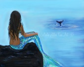"Mermaid Art Print Mermaid Art Mermaid Painting Art Print Mermaid Wall Art Whale Art  ""A Beautiful Whale Watcher"" Leslie Allen Fine Art"