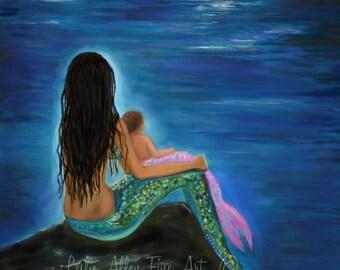 """Mermaid Art Mermaids ART PRINT Mermaid Giclee Wall Art Mother Baby Art Nursery Art nursery Decor """"Mermaids Baby Girl""""  Leslie Allen Fine Art"""