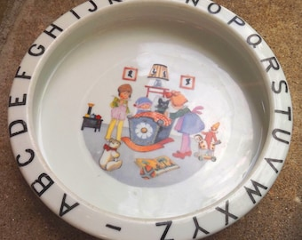 1920s ceramic baby plate made in Germany - charity for animals