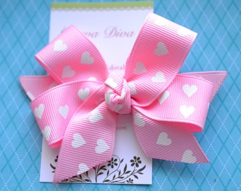 Bubble Gum Pink with White Heart Dots Classic Diva Bow