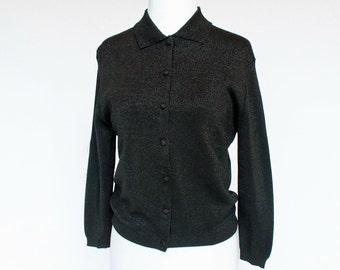 50's / 60's Black Cardigan / Sparkle Lurex Knit / Collar / Helen Harper / Small