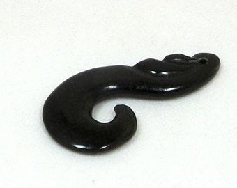 Genuine Dark Green Nephrite Jade Maori Culture Modified Hook Pendant BeadAddic Attic Etsy