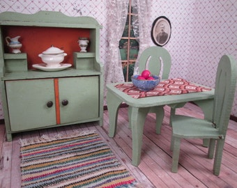 """Vintage German Dollhouse Miniatures - Four Piece Kitchen - Hutch, Table and 2 Chairs - 1"""" Scale"""