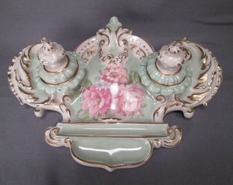 Lovely Ceramic Inkstand with Double Inkwells - Rose Transfer on Light Green