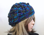 Textural Slouchy Beanie in Cool Colors  Yarn  - women girl teen - Warm Winter Hat - Boho Indie Design - Ready to Ship