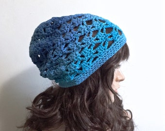 Pavillion Slouchy Beanie - Beach hat  - teal, lime green, navy, green - 100 pct cotton yarn - women girl teen - summer spring indie boho