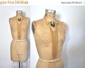 SALE 1970s Gold Necklace / Long dangle tassels